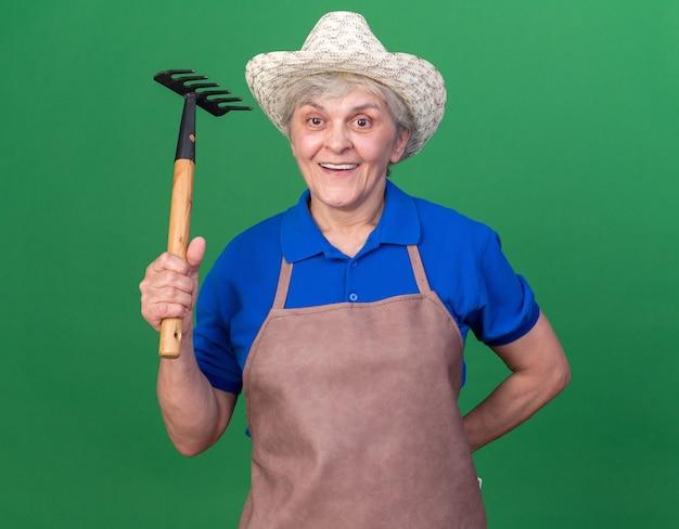 복사 공간이 있는 녹색 벽에 격리된 갈퀴를 들고 원예용 모자를 쓴 노인 여성 정원사