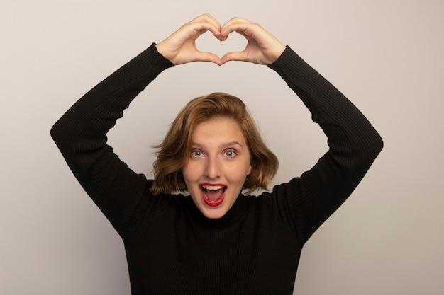 Impressionata giovane donna bionda che tiene le mani sopra la testa facendo il segno del cuore guardando la parte anteriore isolata sul muro bianco white