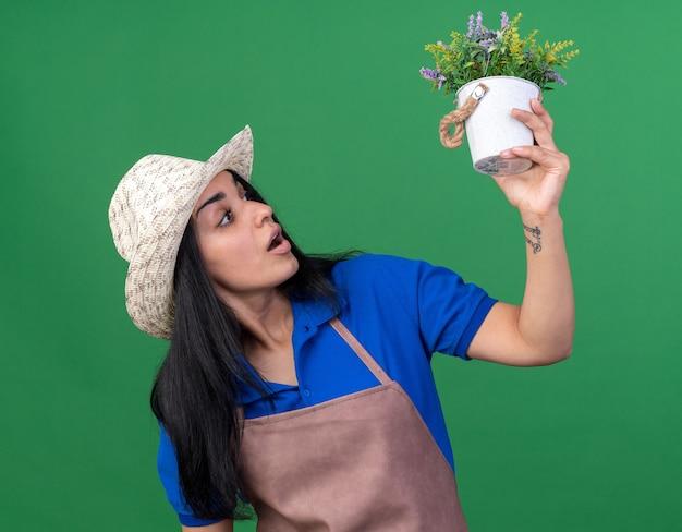 Impressionato giovane giardiniere caucasica ragazza che indossa l'uniforme e il cappello che tiene e guarda il vaso di fiori isolato sul muro verde