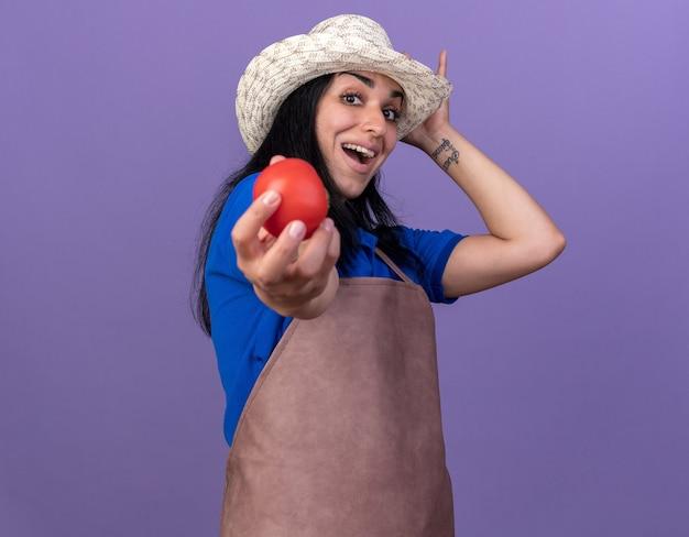 制服と帽子をかぶってトマトを触る帽子に向かって伸ばしている印象的な若い白人の庭師の女性