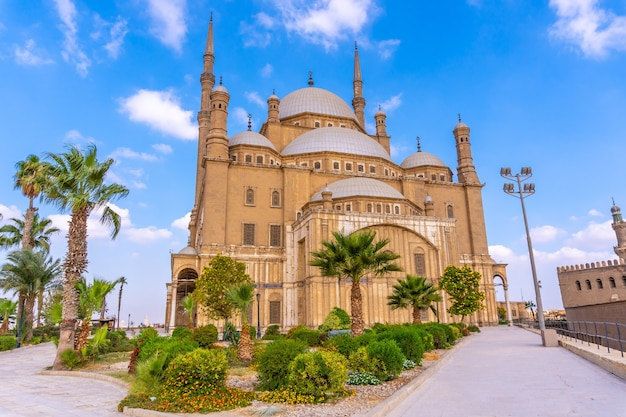 The impressive alabaster mosque in the city of cairo, in the egyptian capital. africa
