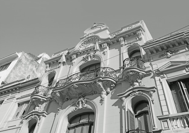 Impressive art nouveau style buildings in buenos aires, argentina, south america in monochrome