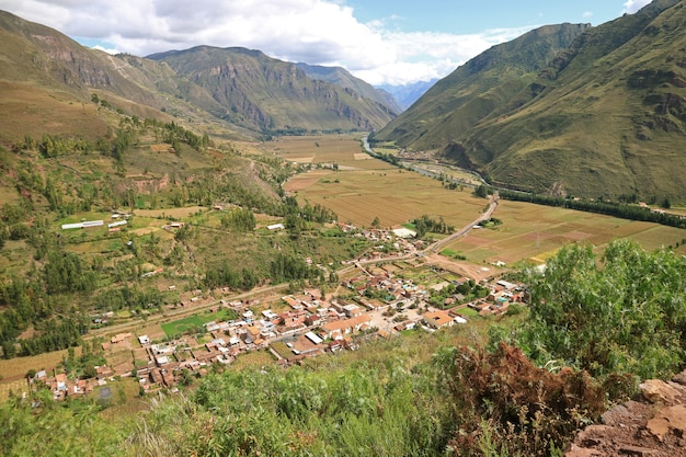 Impressive panoramic view of cusco region countryside