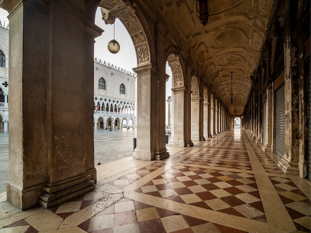 Impressive porch overlooking the ducal palace. venice.