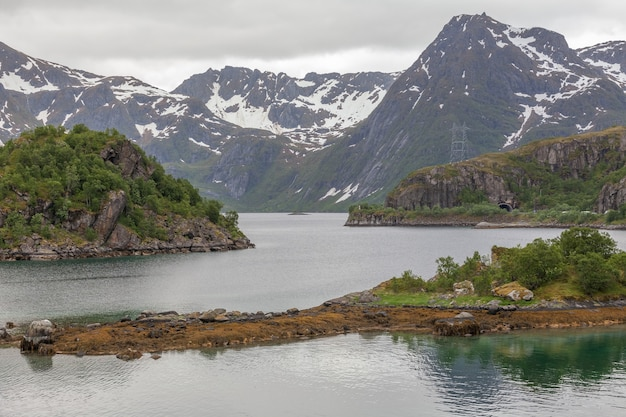 Impressive summer view of fjord in norway. colorful morning scene in norway