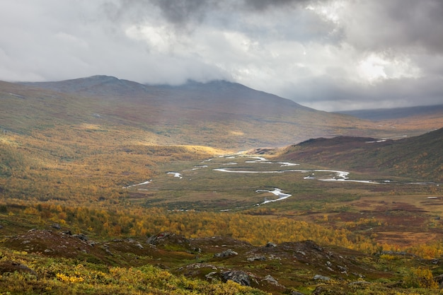 Impressive view of the mountains of sarek national park in swedish lapland