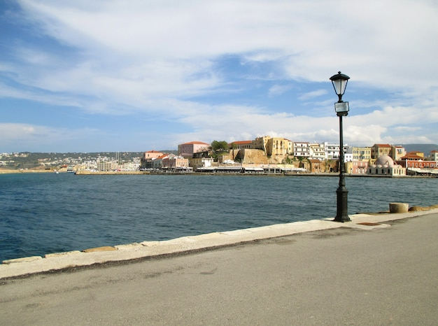 Impressive waterfront of the old venetian harbour of chania, crete island, greece