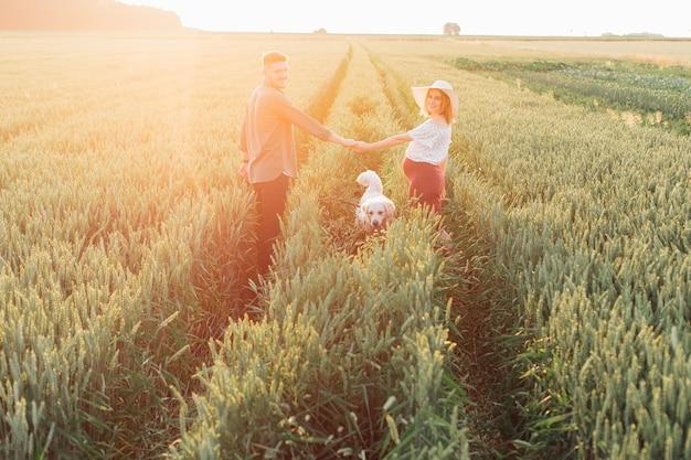 미래의 기적을 기대하며 젊은 임신한 부부는 손을 잡고 돌아서고 그들의 옆에 충실한 개를 들고 있습니다. 임산부 . 가족과 임신. 행복과 평온. 가족 가치.
