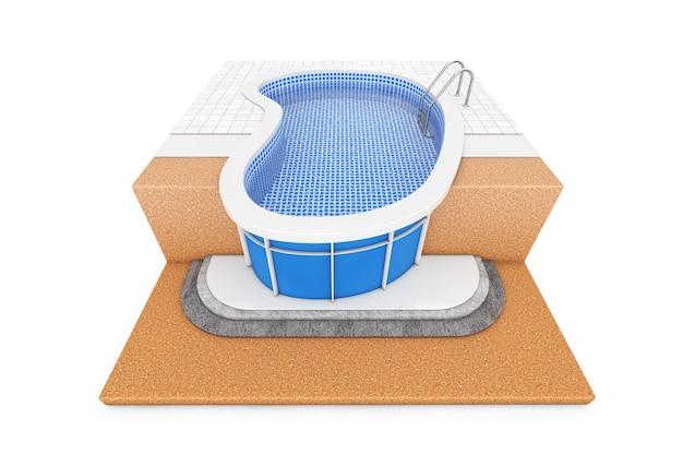 白い背景の上のグラウンドブルーの屋外スイミングプール建設計画で3dレンダリング