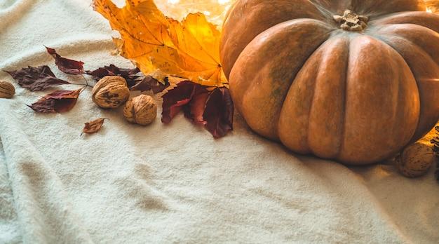 В доме оформлена тыква, шишки, орехи и гирлянда из осенних листьев. красивый праздник осенний фестиваль концептуальная сцена осень, урожай