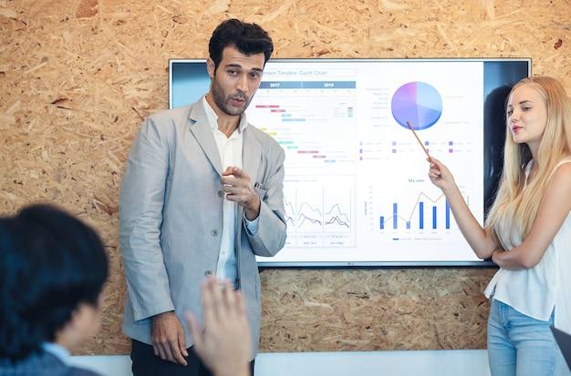 В комнате офиса руководитель проводит презентацию для деловых партнеров. целью было расширение, и нам это удалось.