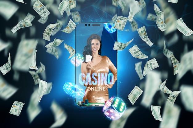 스마트 폰에서 손에 카드 놀이와 달러 지폐를 든 아름다운 소녀가 떨어지고 있습니다. 온라인 카지노, 도박, 도박, 룰렛. 웹 사이트 헤더, 전단지, 포스터, 광고 템플릿.