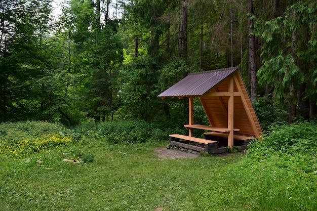 В летнем лесу с правой стороны стоит деревянная скамейка для отдыха, накрытая сверху крышей. слева есть место для текста