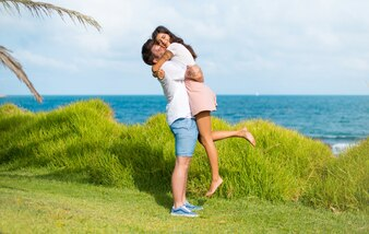 In valentine day Young couple at outdoors hugging