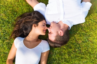 In valentine day Young couple at outdoors