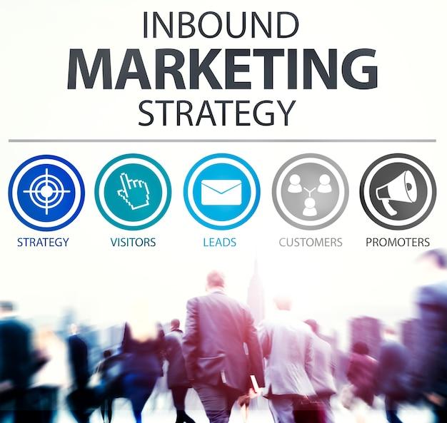Concetto di soluzione commerciale strategia di marketing in entrata