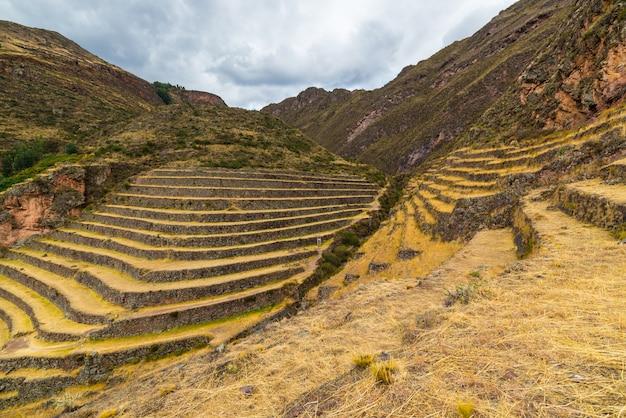 Inca's terraces in pisac, sacred valley, peru