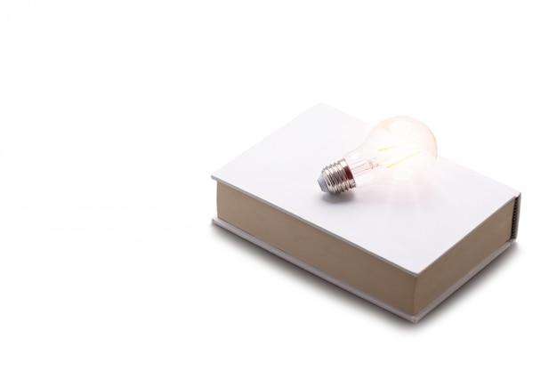 白書に置かれた白熱電球。白い壁に分離