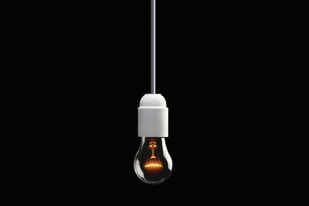 Лампа накаливания, висит на темной стене, концепция творчества.