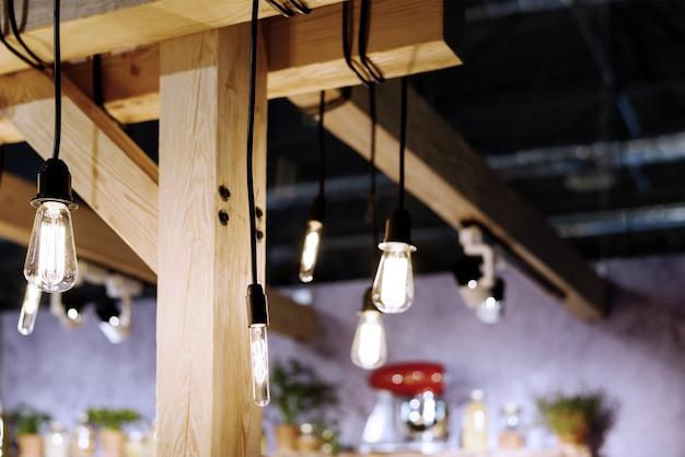 Incandescent light bulbs in a loft style room