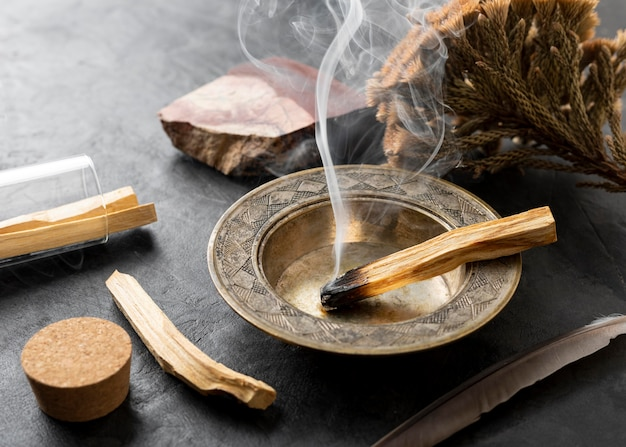Incense spanish holy wood plant and smoke