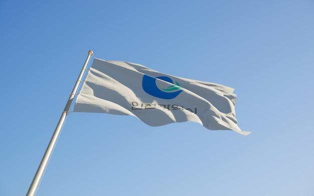 인천 한국 국기 낮은 각도. 3d 아트 워크