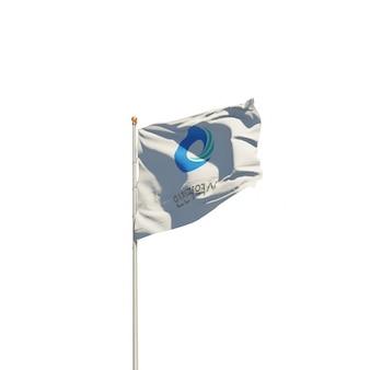 인천 한국 흰색에 고립 된 플래그입니다. 3d 아트 워크