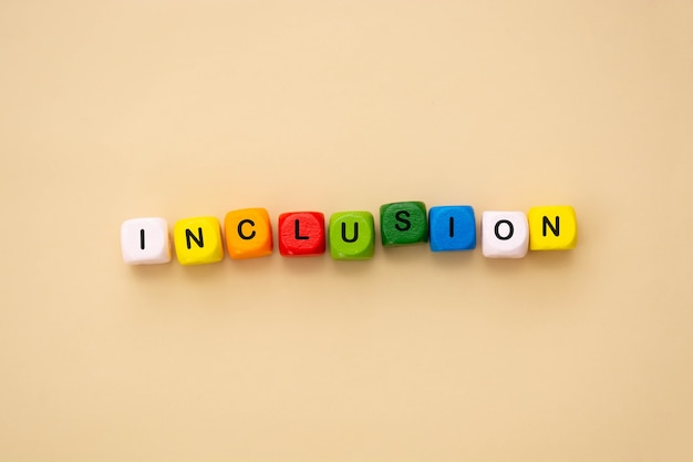 Inclusion text colorful wooden cubes. inclusive social concept, flat lay.