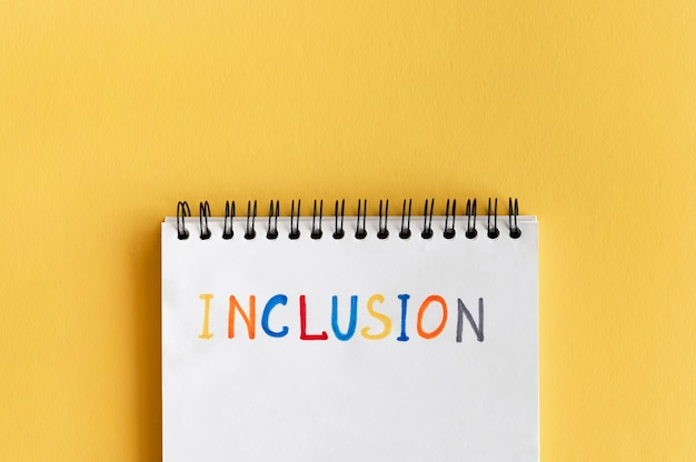 Inclusion word written in colourful pencils