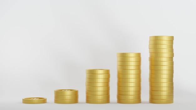 収入グラフゴールデンコイン。ドル硬貨は白い背景の上に積み重ねられます。お金の節約の概念。 3dレンダリング