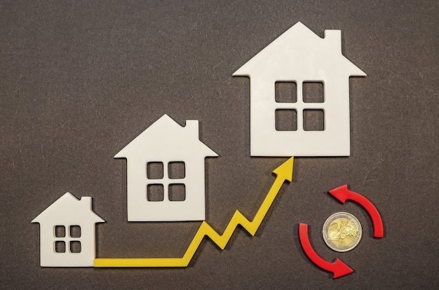 Increase in property prices, growth in real estate prices in europe, turnover in the real estate market, price chart up
