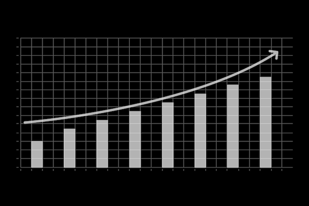黒の背景で増加したビジネス財務グラフ