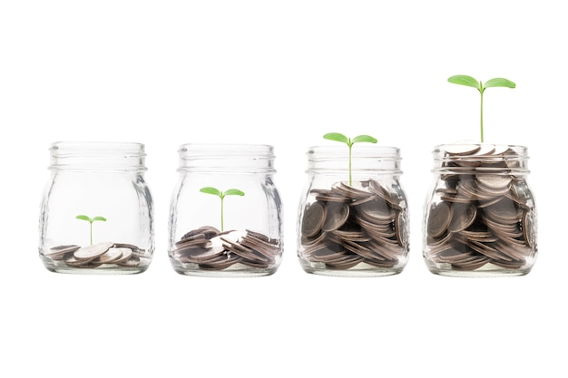 Increasing growth coins money inside transparent piggy saving jar with plant.