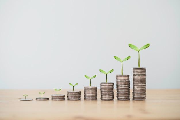 貯蓄コンセプトからの植物、投資利益、配当金と積み重なる成長コインの増加。