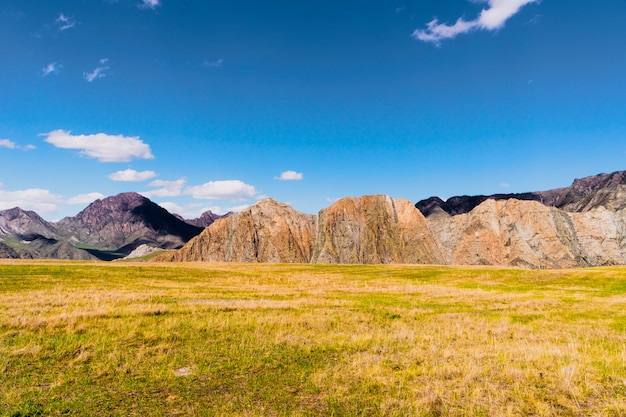 Incredible landscape of altai mountain valley with rock