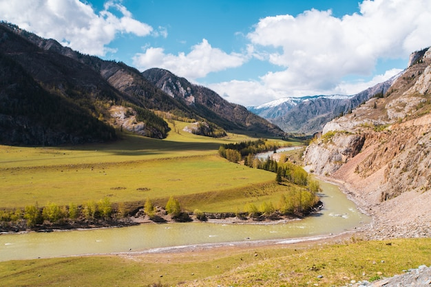 Incredible landscape valley of the altai mountains with trees, hills and river