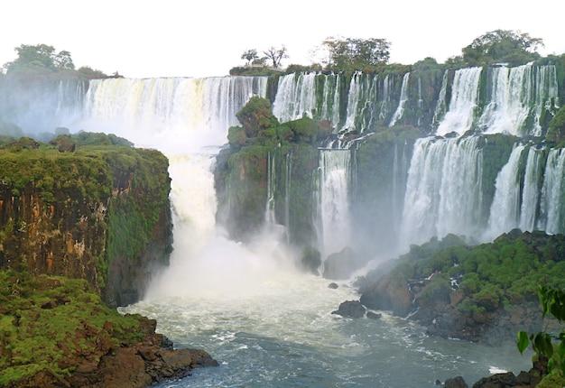 Невероятный панорамный вид на водопад игуасу на аргентинской стороне, национальный парк игуасу, аргентина, южная америка
