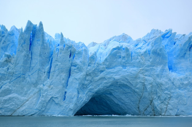 Incredible view of the ice blue perito moreno glacier's huge front wall, el calafate