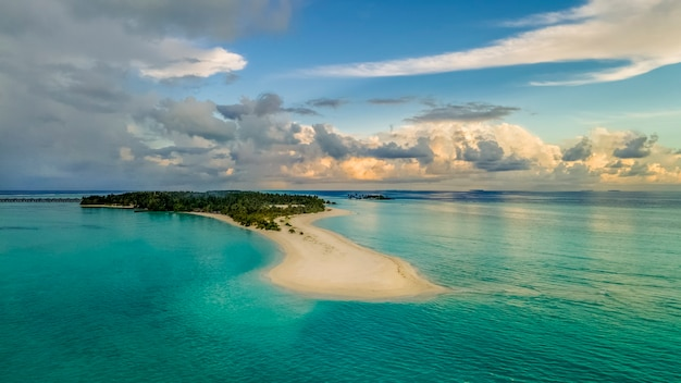 Incredibly beautiful landscape island of the maldives turquoise water beautiful sky aerial view