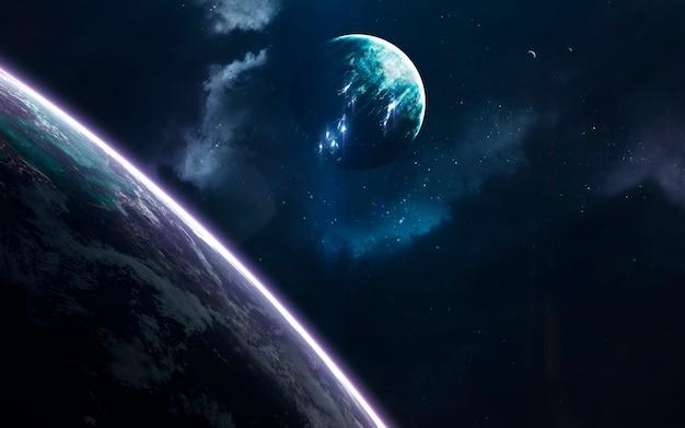 믿을 수 없을 정도로 아름다운 행성, 은하, 끝없는 우주의 어둡고 차가운 아름다움