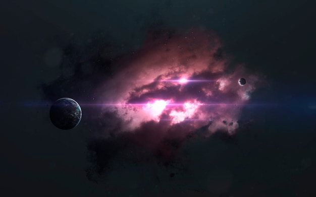 Incredibly beautiful planets, galaxies, dark and cold beauty of endless universe