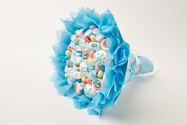 Incredibly bouquet of multi-colored marshmallows, sweets