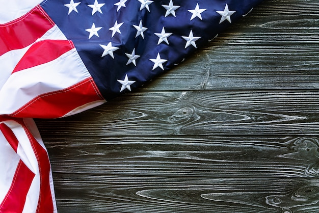 Independence day, 4th of july - american flag on wooden background