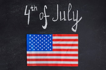 Independence day background on chalkboard