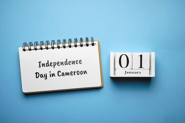 Independence day in cameroon of winter month calendar january.