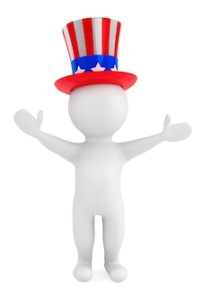 Independence day concept. 3d small person with american fhat on a white background