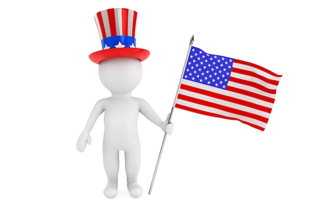 Independence day concept. 3d small person with american flag and hat on a white background