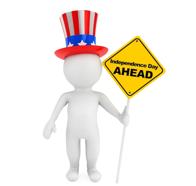 Independence day concept. 3d small person with american hat and traffic sign on a white background