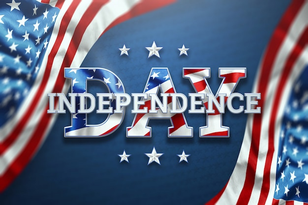 Independence day inscription on blue background