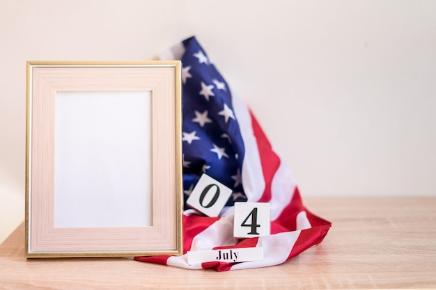 Independence day usa concept frame mock up fot 4th july with usa flag memorial day